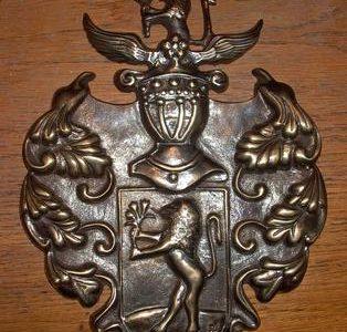 Fém, bronz, réz emlékérem, címer, pajzs öntés