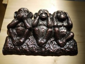 Három majom réz, bronz öntés