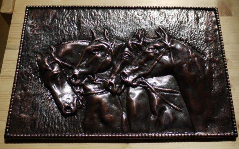 Réz kép öntés, lovak